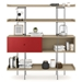 BDi Margo Modern Shelves in Drift Oak Wood with Cayenne Red Sliding Cabinet Door and Gray Steel Frame - Front Dressed, Door Left