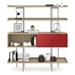BDi Margo Modern Shelves in Drift Oak Wood with Cayenne Red Sliding Cabinet Door and Gray Steel Frame - Front Dressed, Door Right
