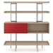 BDi Margo Modern Shelves in Drift Oak Wood with Cayenne Red Sliding Cabinet Door and Gray Steel Frame - Front