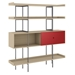 BDi Margo Modern Shelves in Drift Oak Wood with Cayenne Red Sliding Cabinet Door and Gray Steel Frame