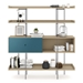 BDi Margo Modern Shelves in Drift Oak Wood with Marine Blue Sliding Cabinet Door and Gray Steel Frame - Front, Dressed, Door Left