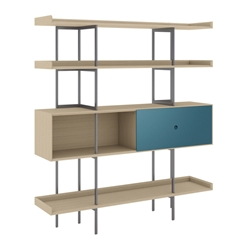 BDi Margo Modern Shelves in Drift Oak Wood with Marine Blue Sliding Cabinet Door and Gray Steel Frame
