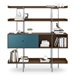 BDi Margo Modern Shelves in Toasted Walnut Wood with Marine Blue Sliding Cabinet Door and Gray Steel Frame - Front, Dressed, Door Left