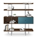 BDi Margo Modern Shelves in Toasted Walnut Wood with Marine Blue Sliding Cabinet Door and Gray Steel Frame - Front, Dressed, Door Right