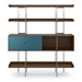 BDi Margo Modern Shelves in Toasted Walnut Wood with Marine Blue Sliding Cabinet Door and Gray Steel Frame - Front