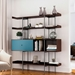 BDi Margo Modern Shelves in Toasted Walnut Wood with Marine Blue Sliding Cabinet Door and Gray Steel Frame - Room Shot