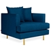 Gus* Modern Margot Arm Chair in Dark Blue Velvet Midnight Upholstery with Black Metal and Brass Metal Legs