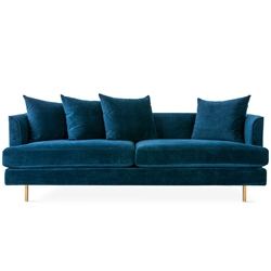 Margot Modern Sofa in Velvet Midnight and Brass Legs by Gus* Modern