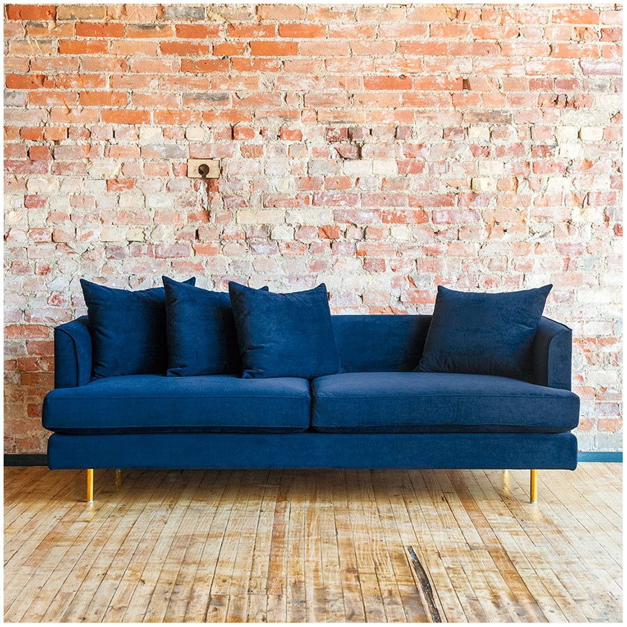 ... Margot Contemporary Sofa In Velvet Midnight ...