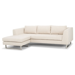 Marietta Sand Fabric Upholstery + Stainless Steel Modern Sectional Sofa