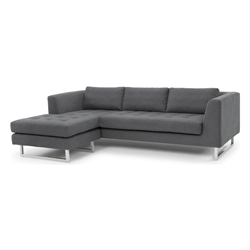 Marietta Shale Gray Fabric Upholstery + Stainless Steel Modern Sectional Sofa