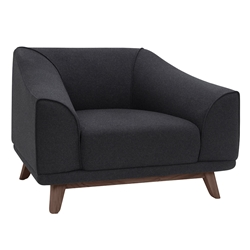 Mars Steel Gray Fabric + Walnut Wood Modern Lounge Chair