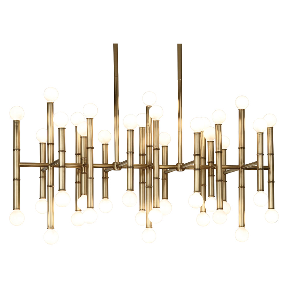 Meurice Linear Contemporary Hanging Lamp in Antique Bronze Brass