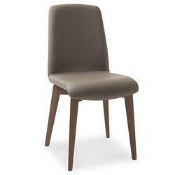 Mia Walnut + Taupe Modern Dining Side Chair by Pezzan