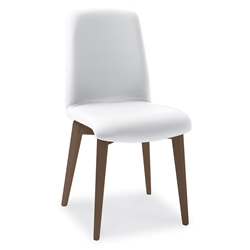 Mia Walnut + White Modern Dining Side Chair by Pezzan