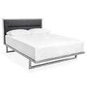 Gus* Modern Midway Contemporary Platform Bed in Black Laurentian Onyx Fabric Upholstery with Brushed Stainless Steel Frame