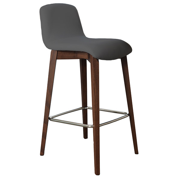 Milo Modern Counter Stool in Walnut + Anthracite by Pezzan