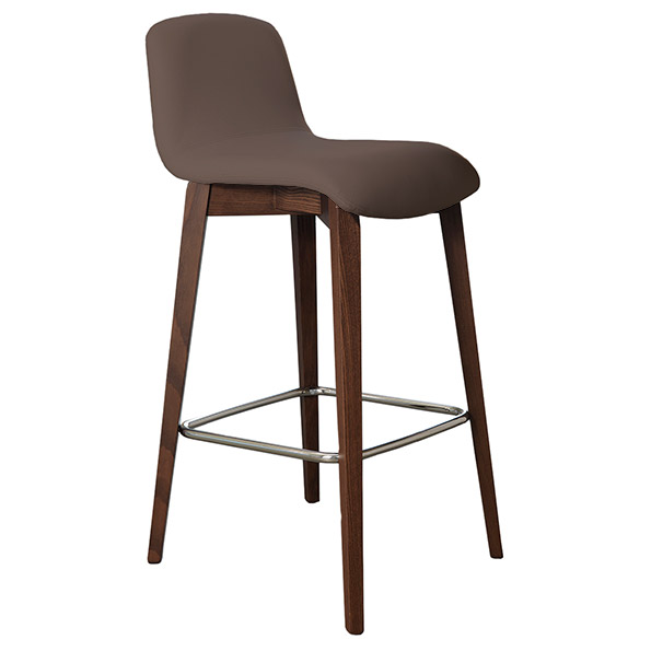 Milo Modern Counter Stool in Taupe + Walnut by Pezzan