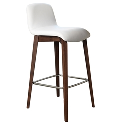 Milo Modern Counter Stool in White + Walnut by Pezzan