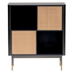 Miriam Modern Black + Wicker Storage Cabinet by Euro Style