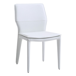 Moorwood White Faux Leather Fully Upholstered Modern Dining Chair