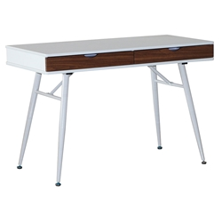 Moss Modern Desk with Drawers in White + Walnut
