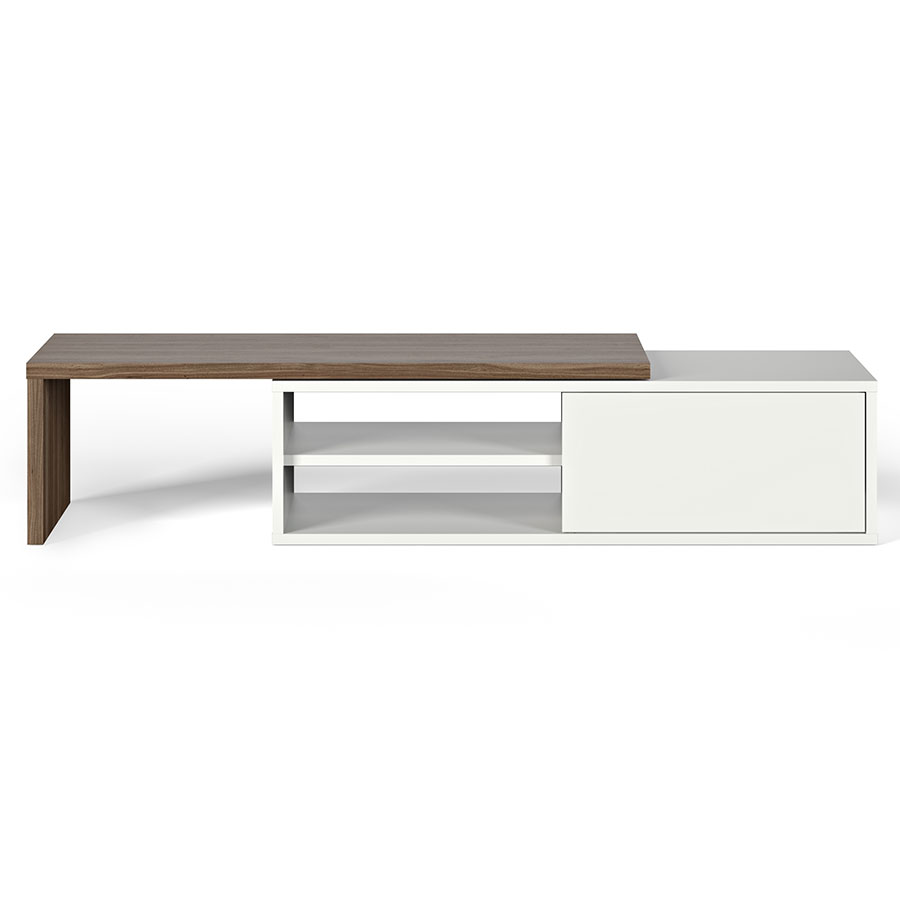 Move White + Walnut Contemporary Adjustable TV Stand