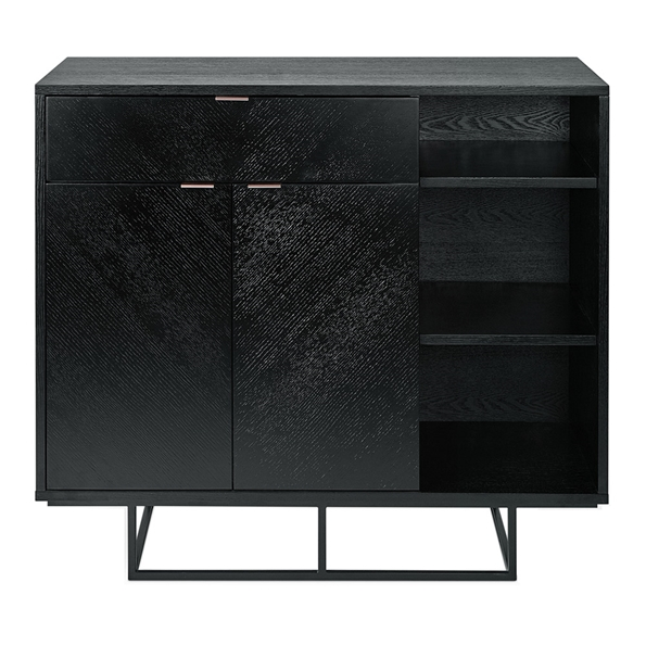Gus* Modern Myles Satin Black Oak + Rose Gold Contemporary Storage Cabinet