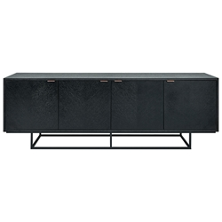 Gus* Modern Myles Satin Black Oak + Rose Gold Metal Credenza