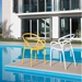 Pezzan Nadir Modern White + Yellow Outdoor Arm Chair