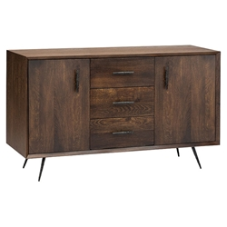 Naples Seared Oak + Black Rustic Metal Modern 2 Door Sideboard