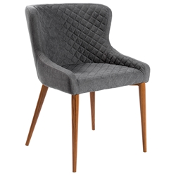 Navi Gray Fabric + Walnut Painted Steel Modern Side Chair