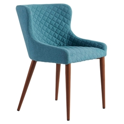 Navi Blue Fabric + Walnut Painted Steel Modern Side Chair
