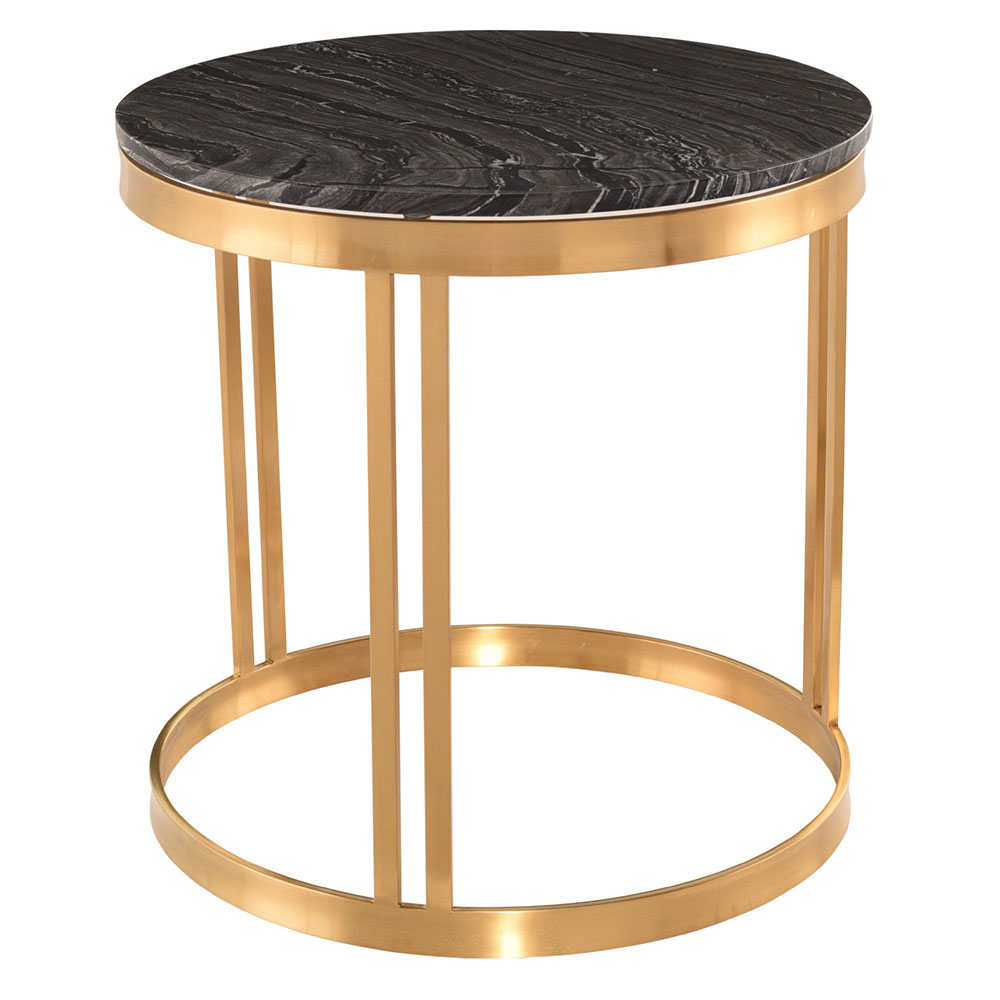 Newcastle Black Marble + Gold Steel Round Modern Side Table