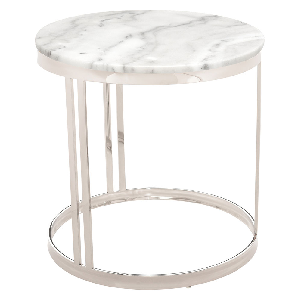 Nicola White Marble + Gold Steel Round Modern Side Table