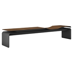 Modloft Black Norbury Modern Walnut + Graphite Wood Bench