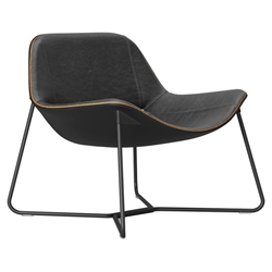 Modloft Black Oakley Modern Lounge Chair in Aged Onyx Leather