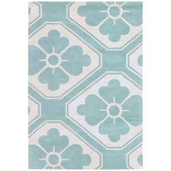 Obi 5x8 Rug in Aqua and Cream