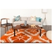 Obi Floral Pattern Rug in Orange