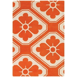 Obi 5x8 Rug in Orange and Cream