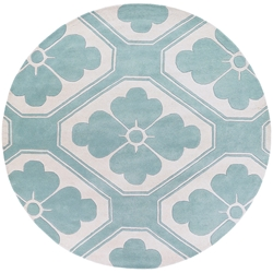 Obi Round Rug in Aqua and Cream