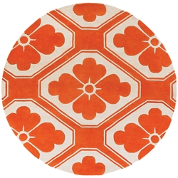 Obi Round Rug in Orange and Cream