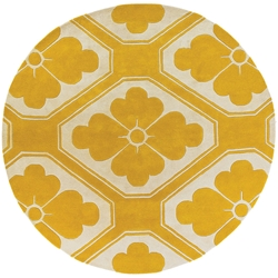 Obi Round Rug in Yellow and Cream