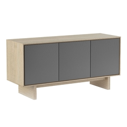 BDi Octave Drift Oak + Gray Perforated Steel 3 Door Modern Media Console