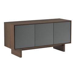 BDi Octave Toasted Walnut + Gray Perforated Steel 3 Door Modern Media Console