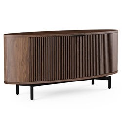 BDi Olis Toasted Walnut Curved Front Modern Media Cabinet