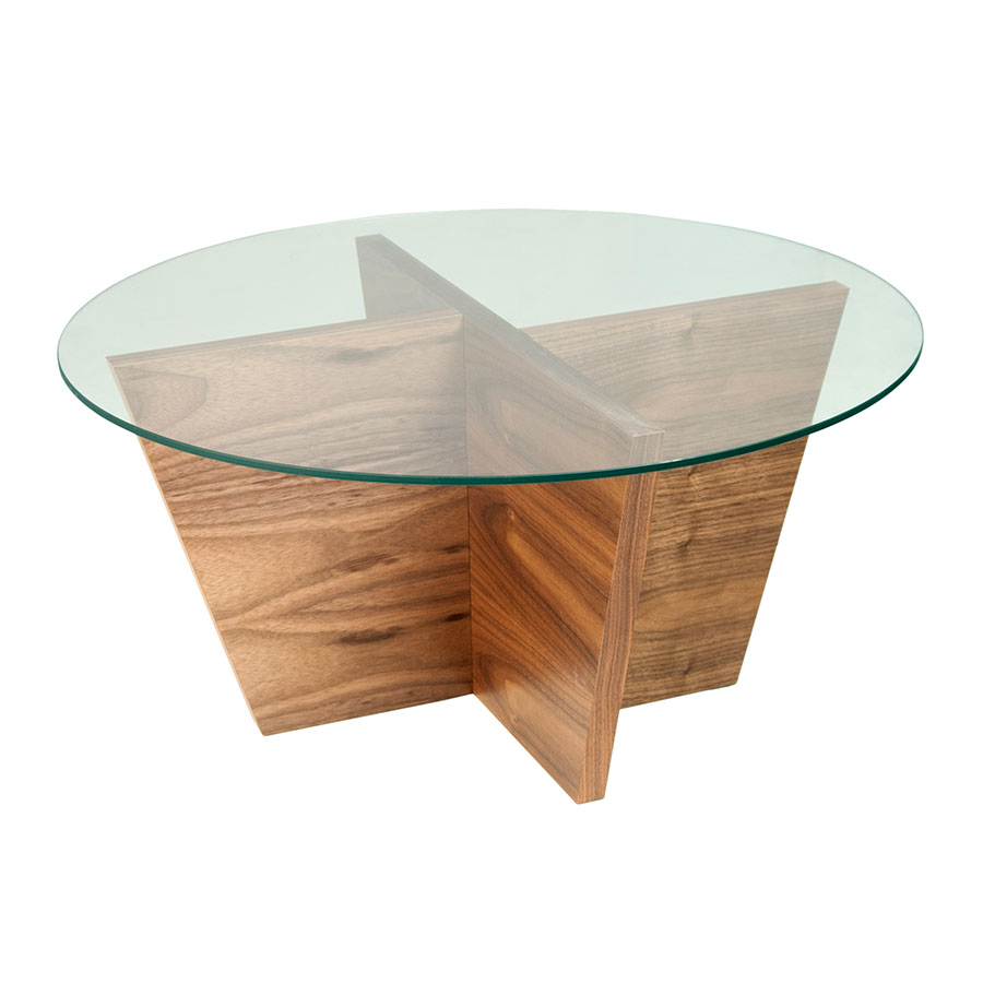 Oliva Round Walnut Contemporary End Table