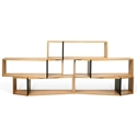 One Oak + Black Contemporary Shelf Quintuple Module - Set of 5 Shelves