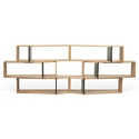 One Oak + Black Modern Shelf Sextuple Module - Set of 6 Shelves by TemaHome