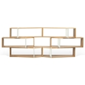 One Oak + White Modern Shelf Sextuple Module - Set of 6 Shelves by TemaHome